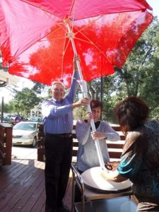 new patio umbrellas for the Scotts Valley Senior Center patio